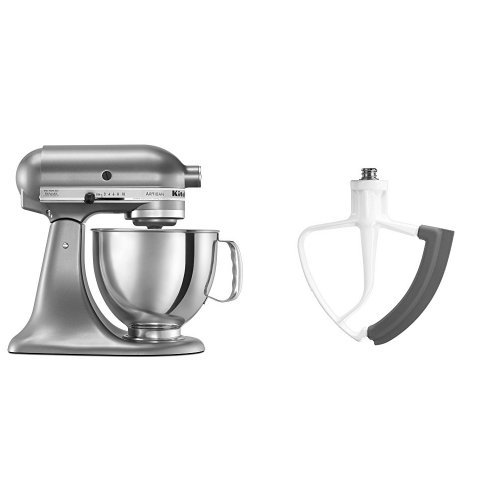 KitchenAid KSM150PSCU Artisan Series 5-Qt. Stand Mixer with Pouring Shield - Contour Silver and KitchenAid KFE5T Flex Edge Beater for Tilt-Head Stand Mixers Bundle