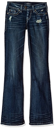 Silver Jeans Women's Tuesday Low-Rise Bootcut, Dark Wash Embroidered Pockets, 30X35