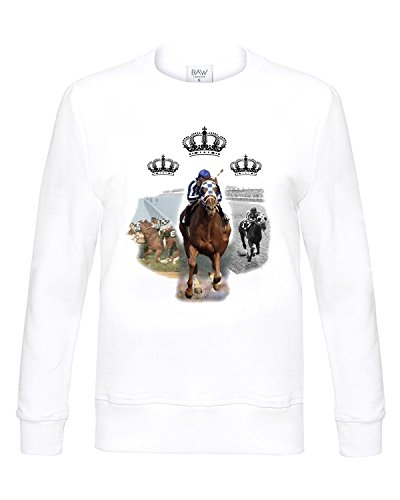 Secretariat wins Triple Crown Horse Race Long Sleeve Sweatshirt White (Secretariat Wins)