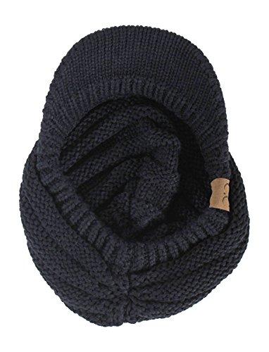 Black Cable Ribbed Knit Beanie Hat w/ Visor Brim - Chunky Winter Skully Cap