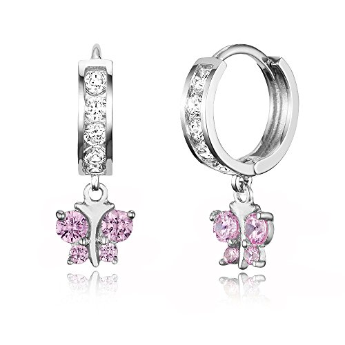 925 Sterling Silver Rhodium Plated Channel CZ Butterfly Baby Girl Hoop Huggie ()