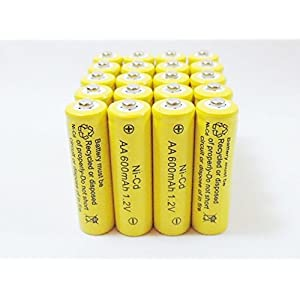 Solar Light AA Ni-CD 600mAh Rechargable Batteries (Pack of 20)