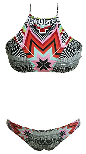 Cheryl Bull Popular Women Print Bikini Top Bottom Sets Beachwear Geometric Swimsuit (XL)
