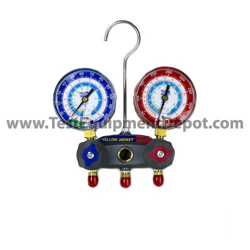 Yellow Jacket 49883 Manifold with Red/Blue Gauges, psi Scale, R-22/134A/404A Refrigerant