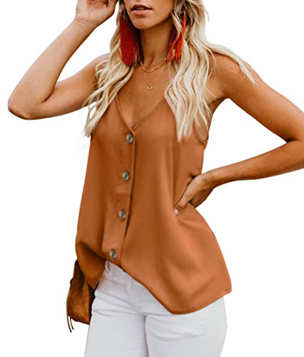 CASILY Womens Fashion Button Down V Neck Sleeveless Strappy Shirts Tank Tops Brown, Small