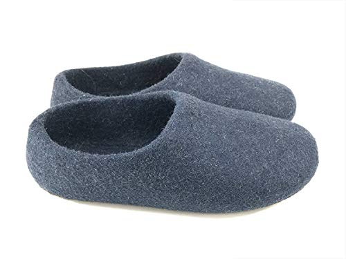 Kyrgies Classics High Back Artisan Wool Slippers, Navy, 39 EU ()