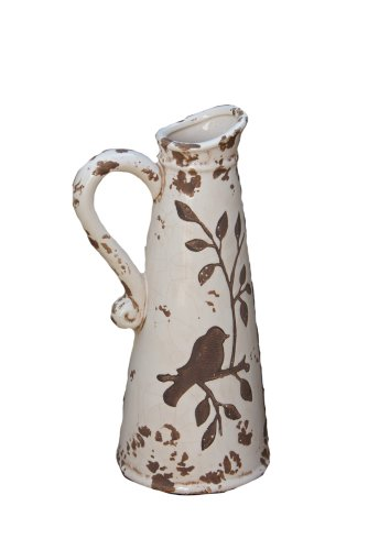 Your Heart's Delight Birds 'n Branches Pottery Pitcher, 13 by 4-3/4-Inch, White