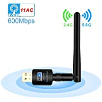 USB Wifi Adapter, Faster Wifi-Wireless adapter with High Gain Antenna-600Mbps Dual band, 802.11N/G/B Network Lan Card for Desktop/Laptop/PC Support Windows XP/Vista/7/8/8.1/10 Mac OS X 10.4-10.12