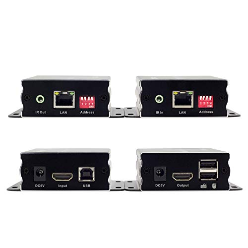 TESmart 400 ft HDMI KVM Extender Over TCP/IP Ethernet/Over Single Cat5e/cat6 Cable 1080P with IR Remote - Up to 400 ft (One Sender + One Receiver) by TESmart (Image #1)