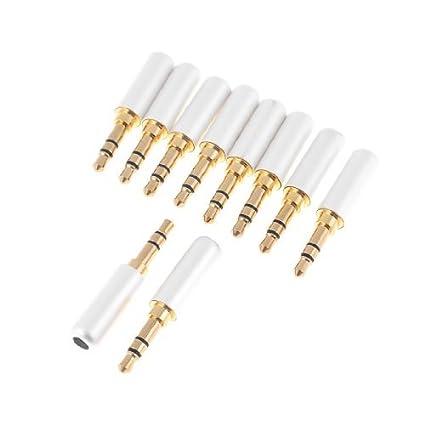 Amazon.com: eDealMax chapados en oro DE 3,5 mm estéreo de soldadura adaptador Blanco 10 us: Electronics
