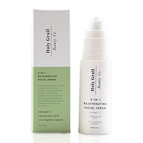 (Vitamin C Facial Serum with Hyaluronic Acid & Peptide Complex - Immediate Results! Reduce Wrinkles, Fine Lines & Remove Dark Spots. All In One Anti Aging Moisturizer Wrinkle Cream by Holy Grail Beauty)