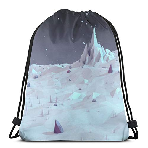 OWZI White Landscape Low Poly Wallpaper Classic Portable Drawstring Backpack,14.2