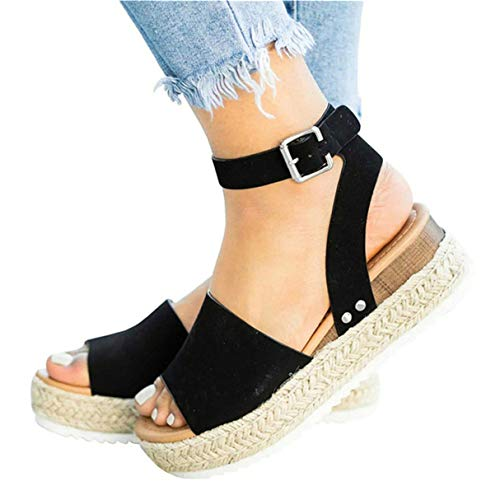 Mafulus Womens Espadrilles Platform Sandals Wedge Ankle Strap Studded Open Toe Summer Sandals Black (Leather Studded Jeans)