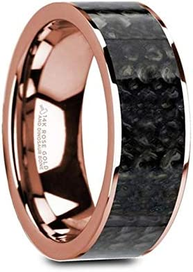 Thorsten ZEBRANO Black Ceramic Ring with Beveled Edge Wedding Band and Real Zebra Wood Inlay 10mm Wide from Roy Rose Jewelry