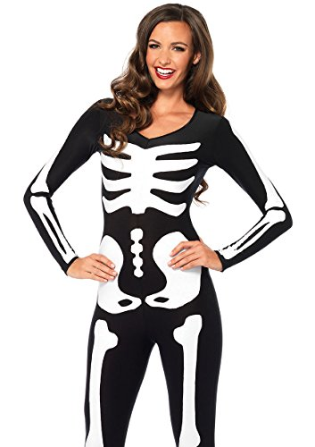 Leg Avenue Women's Glow in The Dark Skeleton Halloween Costume, Black/White, Medium