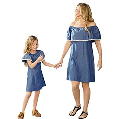 Girls Clothing Sets, Baby Girl Off Shoulder Lace Splice Denim Dress by WOCACHI