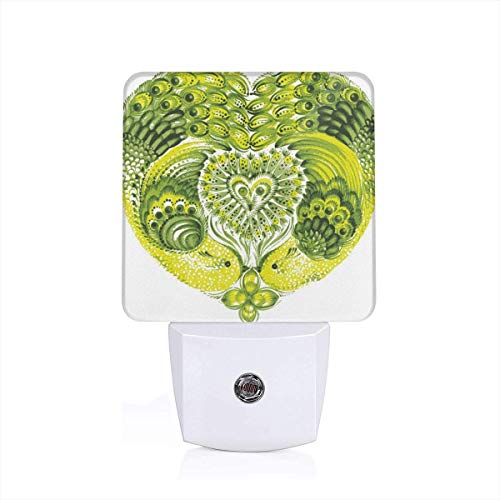 Colorful Plug in Night,Heart Shaped Peacock Feathers Paradise Animal with Clover Flower Zen Print,Auto Sensor LED Dusk to Dawn Night Light Plug in Indoor for Childs Adults