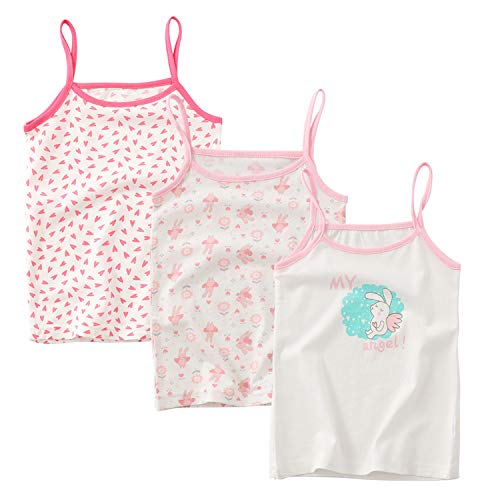 BLOMDE Little Girls' Heart Print Cotton Cami Assorted Camisoles for 3-4 -