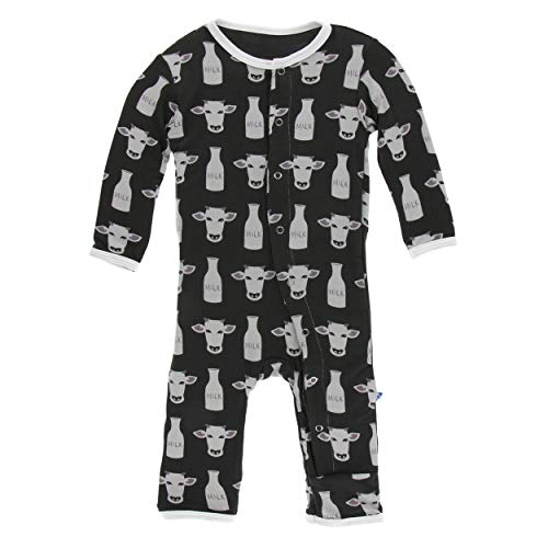 Kickee Pants Little Boys Print Coverall with Snaps - Zebra Tuscan Cow, 12-18 Months