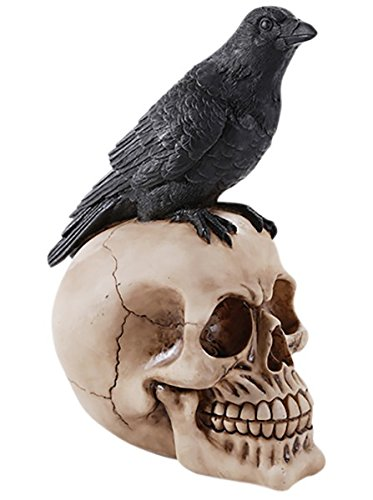 Perched Raven On Skull Poe Raven Figurine Halloween Home Decor Gift -