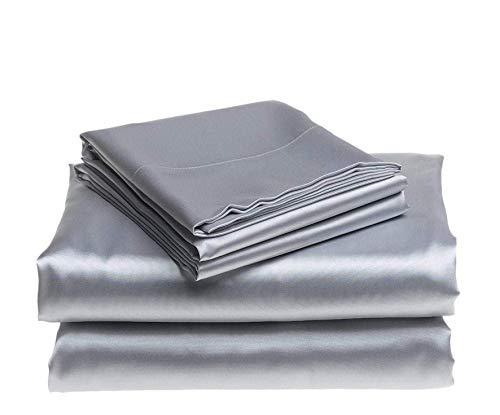 Clothink Satin Bed Sheets Set - Bed Sheets Set 4 Pieces, Bedding Sheet Set with 14