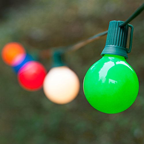 Outside Patio Lights – Backyard Patio Lights Globe Patio Lights – Wedding Lights Decorations; Glass Patio Lights – Patio Lights (25 Lights, 25 Ft, E17 Base, Opaque Multicolor G50 Bulbs, Green Wi