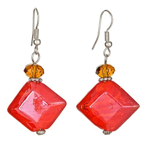 "Lova Jewelry ""Crimson Amber"" Hand-Blown Venetian Murano Glass Drop Earrings - Amber Murano Glass Crystal"