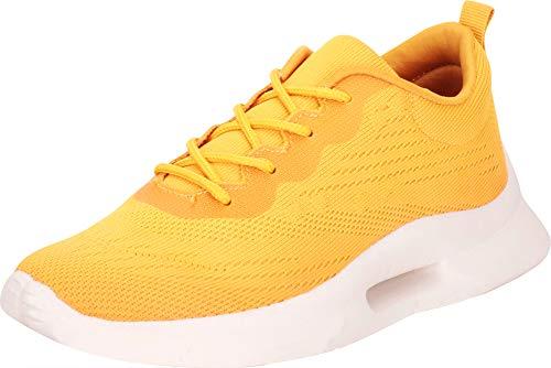 Cambridge Select Women's Lightweight Knit Lace-Up Casual Sport Fashion Sneaker,7 B(M) US,Yellow