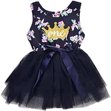 87f71dd627c Baby Girls 1st Birthday Dress Princess Floral and Crown Printed Sleeveless  Bowknot Tulle Tutu Skirt