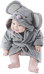 Unisex Baby Animal Plush Bathrobe, Infant Hooded Robe 100% Organic Cotton Pajamas Sleepwear 0-7 T