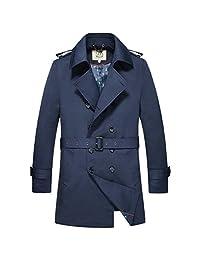 E-artist Men's Trench Coat Long Double Breasted Overcoat F14