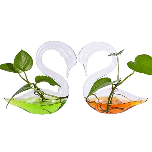 1 Pair Hand Blown Glass Swan Bud Vase for Indoor Plants or Fresh Flowers Use for Office Desk Decor Wedding Centerpieces Home Decor Great Gift for Friends