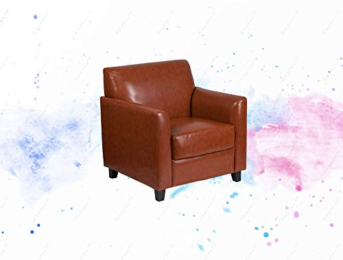 GUPLUS-Cognac Leather Chair Contemporary Design Office or Home Office Seating Flared Arms Plush Seat and Back Fixed Seat and Back Cushions Foam Filled Cushions Sturdy Hardwood Construction Black Wood