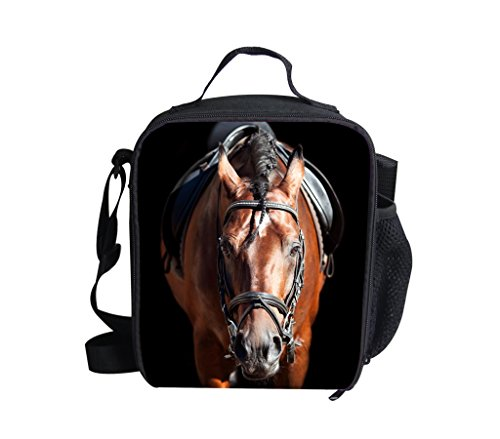 """Ledback 3D Zoo Animal Horse Lunch Bag for Kids Print Lunch Box 9.8x7.5 """" Storage Bag Children Girls Durable Food Drink Container Bag with Insulated Lining Portable Zipper Outdoor Cooler Bag"""