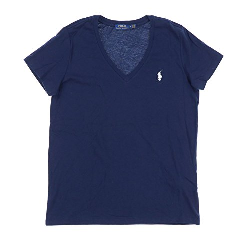- Polo Ralph Lauren Womens V-Neck Jersey T-Shirt (Large, Navy)