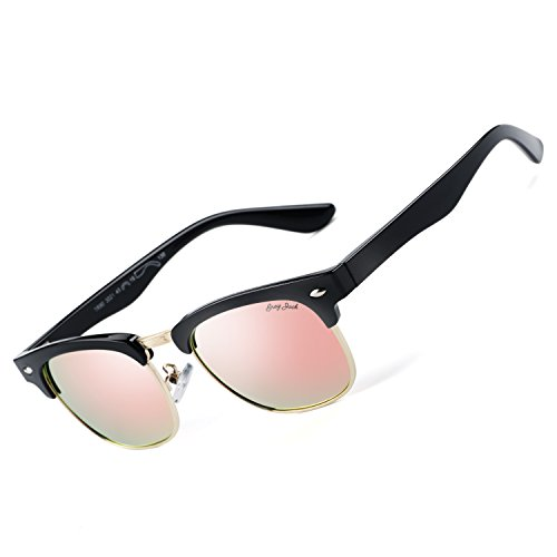 GREY JACK Polarized Clubmaster Mirrored Sunglasses for Kids Children Girls Boys Fashion Half Frame Pink - Polarization Of What Definition Is The
