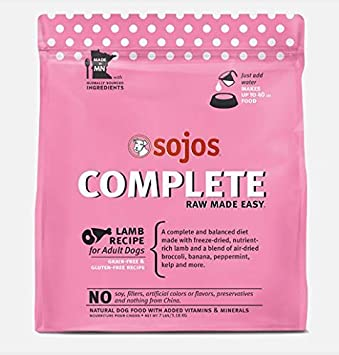 Sojos Complete Raw Made Easy Freeze-Dried, 7-Pound Bag Dog Food Lamb Recipe 1