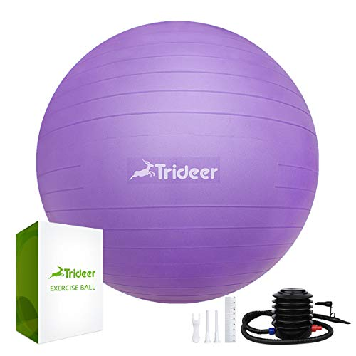Trideer Exercise Ball (45-85cm) Extra Thick Yoga Ball Chair, Anti-Burst Heavy Duty Stability Ball Supports 2200lbs, Birthing Ball with Quick Pump (Office & Home & Gym) (Purple New, 45cm)