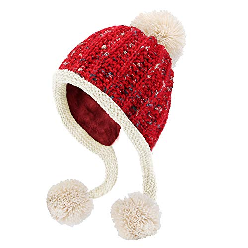 (HUAMULAN Women Skull Beanie Hat Peruvian Cap Winter Fleeced Ski Ear Flaps Pompoms)