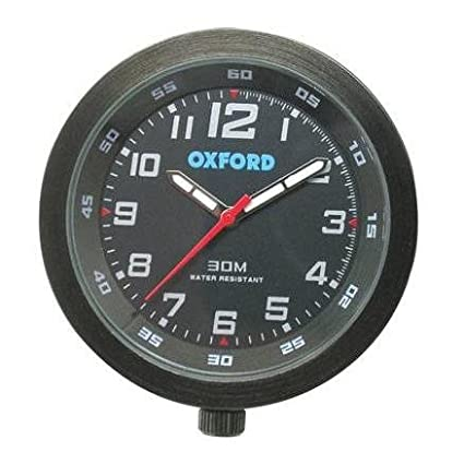 OXFORD BLACK ANALOGUE CLOCK FOR MOTORBIKE/MOTORCYCLE OR ATV