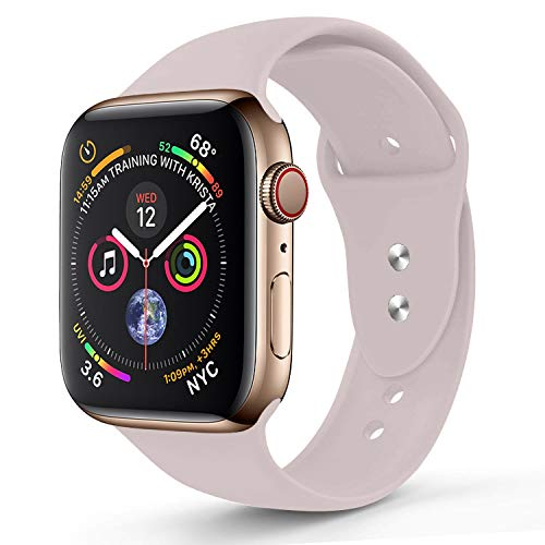 RUOQINI Compatible with Apple Watch Band 40mm,Sport Silicone Soft Replacement Band Compatible for Apple Watch Series 4, S/M Pink Sand