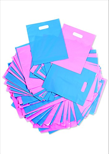 - Plastic Thank You Gift Bags with Die Cut Handles 12x15 Inch with 3 Inch Gusset (100) - Pink and Blue Glossy Pastels, Thick Poly - Retail Merchandise Shopping, Trade Shows - Quality Made - Bonus ebook