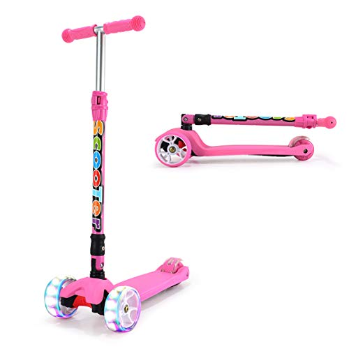 WonderView Kids Scooter, 3 Wheel Kick Scooter with One Second Folding Feature and PU Light-Up Wheels, 4 Height Adjustable Scooter for Children from 2 to 14 Year Old