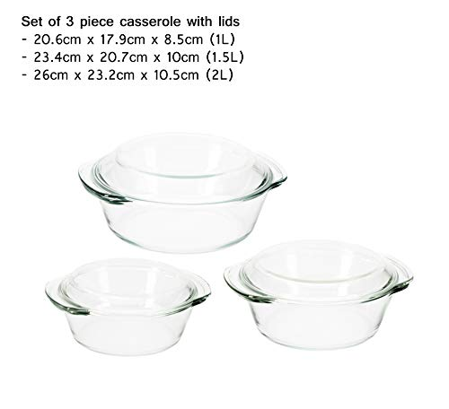 4.5 Mm Round Stones - Moss & Stone Glass Casserole Dish With Lid Made by Borosilicate Glass material 4.5mm to 5mm thick Set of 3 Deep Dish Heat/Cold Microwave Oven Freezer & Dishwasher Safe Reusable Clear Turquoise Glass