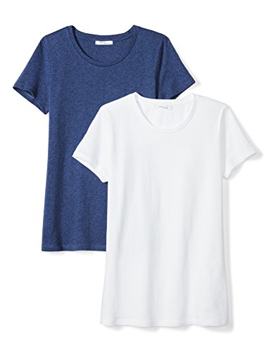 Feather T-shirt Tee Shirts - Amazon Brand - Daily Ritual Women's Featherweight Cotton Short-Sleeve Crew Neck T-Shirt, White/Heather Blue, Large