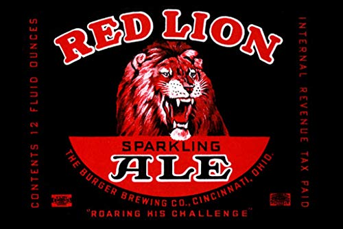 ArtParisienne Red Lion Sparkling Ale Roaring His Challenge 24x36-inch Wall Decal ()