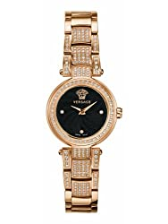 Versace Women's M5Q81D008 S081 Mystique Rose Gold Ion-Plated Stainless Steel Black Dial Diamond Watch