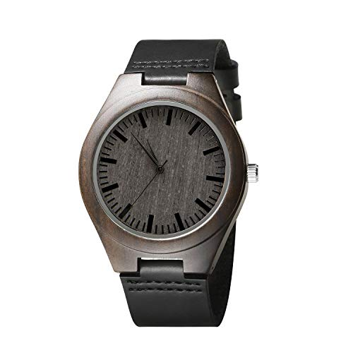 - Engraved Personalized Mens Wooden Watch Lightweight Black Leather Strap Analog Quartz Movement Wristwatches for Son and Father Gifts (No Engraved Words)