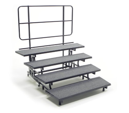 AmTab Mobile EZ-Riser, 4 Levels with Built-in Back Rail, Charcoal Carpet Top