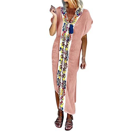 Women Vintage Maxi Sleeveless O Neck Short Sleeve Plus Size Bohemian Print Plaid Long Dress Pink